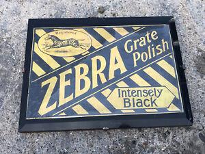 ORIGINAL OLD ZEBRA GRATE POLISH INTENSELY BLACK ADVERTISING SIGN IN GLASS FRAME