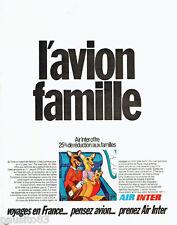 PUBLICITE ADVERTISING 096  1971  Air Inter  l'avion famille