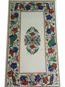 "36"" x 22"" Marble coffee Top semi precious stones Inlay Table Handicraft Work"