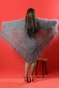 """Russian gray lace shawl Hand knitted Wrap Natural goat down Cashmere 45"""" square"""