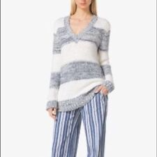 MICHAEL KORS STRIPED COTTON BLEND V-NECK SWEATER White w/ BlueishGray~XS~$160