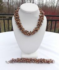 STERLING SILVER BRONZE PEARLS LARGE HEAVILY BEADED NECKLACE & BRACELET 210 GRAMS