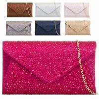 Ladies Rain Drop Gem Clutch Bag Glitter Evening Bag Metallic Party Handbag KL759
