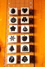 Stampin' Up Seasonal Solids Mini Set of 12 Rubber Stamp Calendar Holiday Season