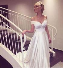 Off Shoulder Satin White Beach Bridal Gown Cheap Wedding Dress Size 4 6 8 10 12+