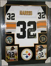 FRANCO HARRIS Framed Pittsburgh Steelers WHITE Jersey Autograph JSA Witness Coa