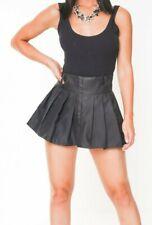 Black School Girl Skirt Pleated Women's Plaid Short Micro Mini High Waist  012