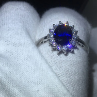 1.60Ct Oval Cut Blue Sapphire Diamond Halo Engagement Ring 14K White Gold Finish