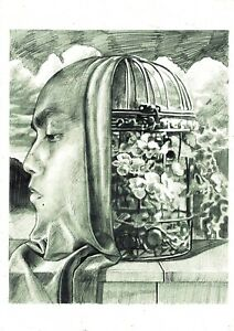 The Cage Surrealism Contemporary Art Pencil Original drawing on paper A4