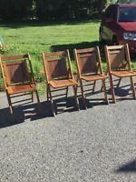 4 Vintage Wood Folding Oak Slat Chairs Large Seats  Chairs Church Rare pattern