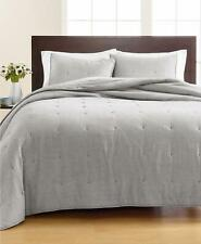 Martha Stewart Tufted Chambray 100% Cotton King Quilt Grey $320