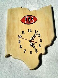 NFL Cincinnati Bengals & Ohio State wood quartz wall clock with team logo