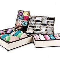 DIY 4Pcs Foldable Organizer Storage Box For Bra Ties Underwear Socks Tie scarf
