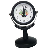 Non Ticking Alarm Clock Second Hand Sweep Rotating Clock Time Watch Black
