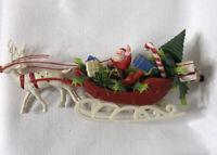 "Vintage SANTA CLAUS SLEIGH REINDEER Christmas BLOW MOLD Plastic Hong Kong 11"""