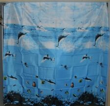 Blue Sea Fabric Shower Curtain Amesbury Swordfish Dolphin Boats Tropical New