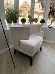 Modern Off White Studded Armchair