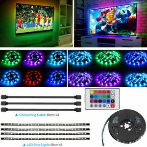 4x50CM LED Backlight USB RGB LED Strip Light Remote Kit for TV Computer Lamp USA