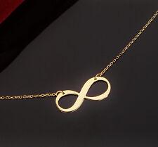 Echte 585 Gold Kette/COLLIER, Infinity Symbol Liebe Unendlichkeit Gelbgold 45cm