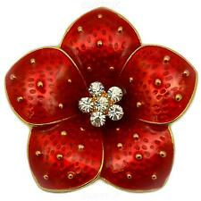 NEW STUNNING RED POPPY FLOWER BROOCH DIAMANTE CRYSTALS GOLD BROACH PIN BADGE UK