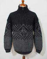 Nepal Strick Pullover Grösse L Herren Schurwolle Handarbeit L553