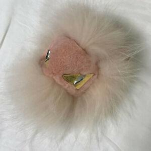 Light Pink Real Fox Fur Monster Bag Bug Charm Pompom Ball Key Chain Pendant