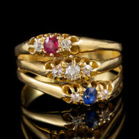 ANTIQUE VICTORIAN TRILOGY RING STACK RUBY SAPPHIRE DIAMOND 18CT GOLD CIRCA 1880