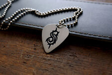 Hand Made Etched Nickel Silver Guitar Pick Necklace with Slipknot S