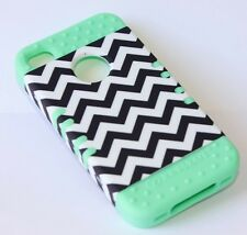 iPHONE 4 4S - HARD & SOFT RUBBER HYBRID ARMOR CASE MINT GREEN BLACK CHEVRON WAVE
