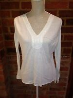 New Look White Cotton Tunic Beaded Design Size 14
