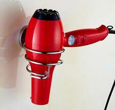 Spiral Blow Hair Dryer Stand Flat Holder Wall Mounted Organizer Brushed Nickel