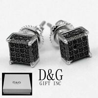 DG Mens Sterling Silver 925.Black Iced-Out CZ 6mm Square Stud.Earring*Unisex*Box