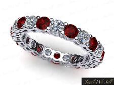 Genuine 2.10Ct Round Cut Ruby Diamond Gallery Eternity Band Ring 10k Gold GH I1