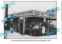 OLD LARGE PHOTO OF TOOWOOMBA SERVICE STATION c1940 QLD SHELL PLUME PETROL BOWSER