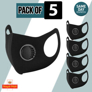 5 Black Face Masks wth Air flow Filter Reusable Washable Face Protect/Breathable