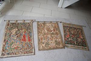 3 x Antiker Gobelin Wandbehang Wandteppich