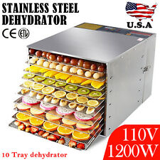 10Tray Commercial Food Dehydrator Fruit Jerky Dryer Blower Stainless Steel 1200W