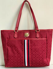 NEW! TOMMY HILFIGER RED SHOPPER SATCHEL TOTE BAG PURSE $98 SALE