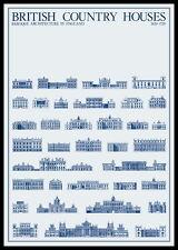 British British Country Houses Poster Kunstdruck mit Alu Rahmen in schwarz