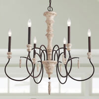 6-Light Shabby Chic French Country Wooden Chandelier Lighting Rustic Chand
