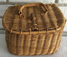 """Vintage Wicker Fishing Tackle Box Basket Decoration 8""""x6"""" w handle and closure"""