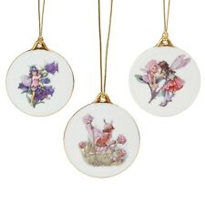 Set of 3 Reutter Flower Fairy Hanging Porcelain Christmas Tree Decoration