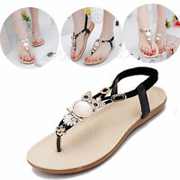 Women Sandals Thong T Strappy Flat Slingback Beach Shoes Casual Owl Slipper