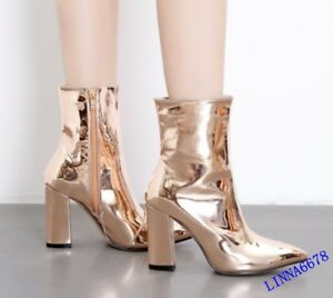 Womens Patent Leather Pointy Toe Fashion Stiletto Heels Ankle Boots Casual Chic
