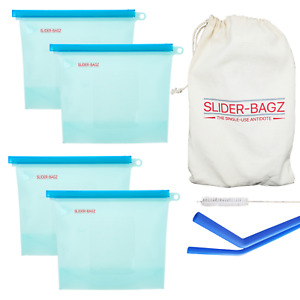 4 x Reusable Silicone Food Storage Bag, Silicone Straws and Muslin Bag