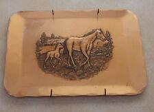 Vintage Metal Bronze Hammered Tray Natale Handmade Leesburg PA Horse Mare Foal