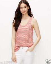 NWT ANN TAYLOR Floral Linen Blend Tank Top Sandwash Red size XL 369781