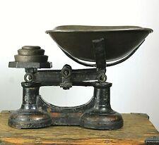 More details for antique vintage grocers kitchen scales 3x cast iron weights deli bistro cafe bar
