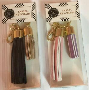 Tassel Key Chain Choose Black/Gold Or Pink/Purple Gold Hardware Lobster Clip NEW
