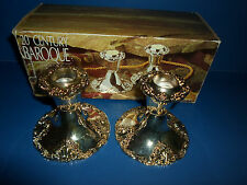 """Pair Silver Plate Candlesticks GODINGER BAROQUE 20TH CENTURY Tapered Candle 4"""""""